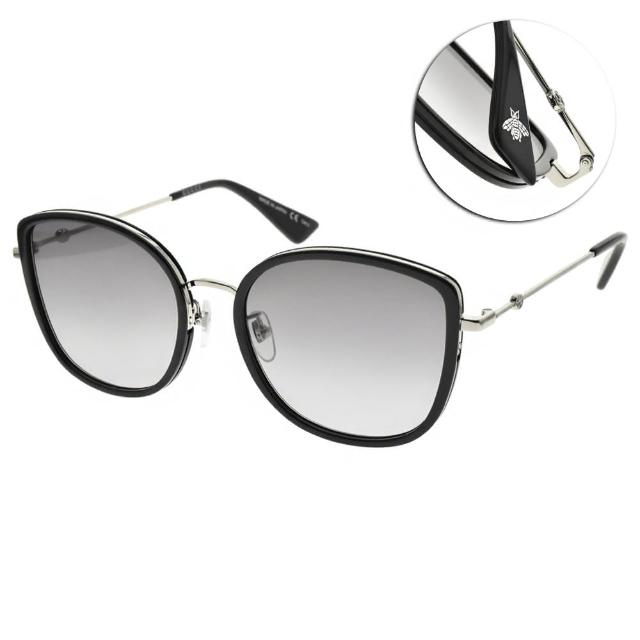 【GUCCI 古馳】太陽眼鏡 時尚貓眼大框款(黑-槍銀-漸層灰藍鏡片 #GG0606SK 002)