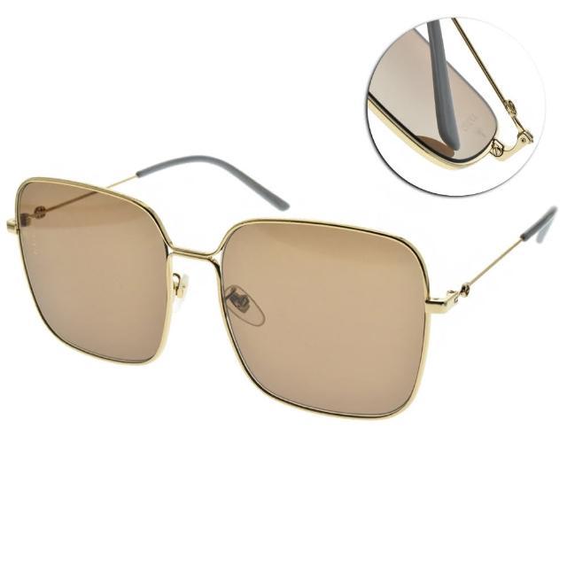 【GUCCI 古馳】太陽眼鏡 時尚金屬大方框(金-藍-棕鏡片 #GG0443S 002)
