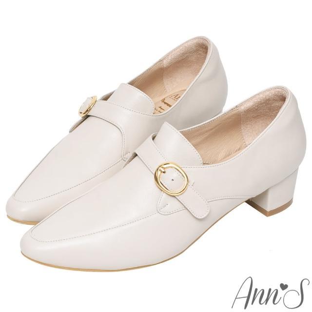 【Ann'S】手工製作頂級綿羊皮氣質金扣低跟踝靴4cm(米白)