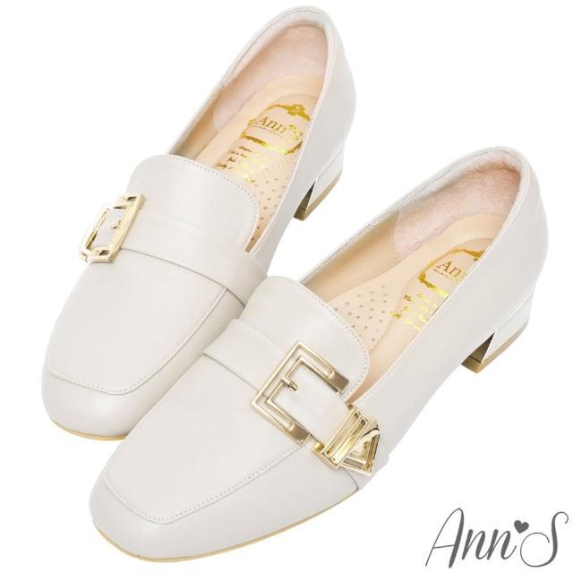 【Ann'S】鏤空造型金扣頂級綿羊皮平底紳士鞋3cm(杏)