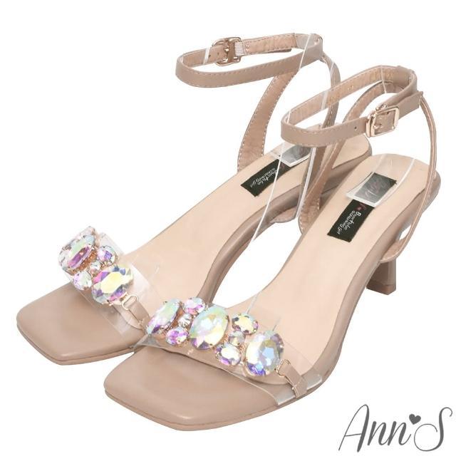 【Ann'S】透明彩鑽寶石方頭酒杯跟涼鞋6cm-版型偏小(杏)