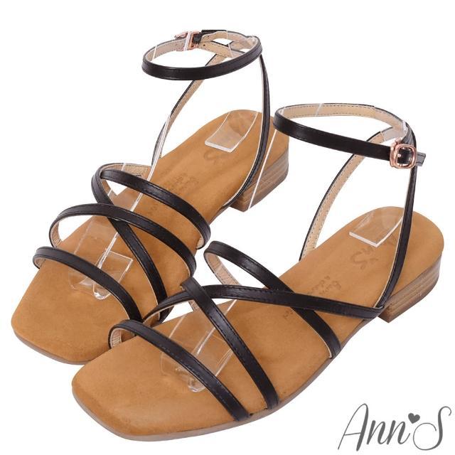 【Ann'S】水洗牛皮-全真皮多層交錯細帶木紋跟方頭涼拖鞋(黑)