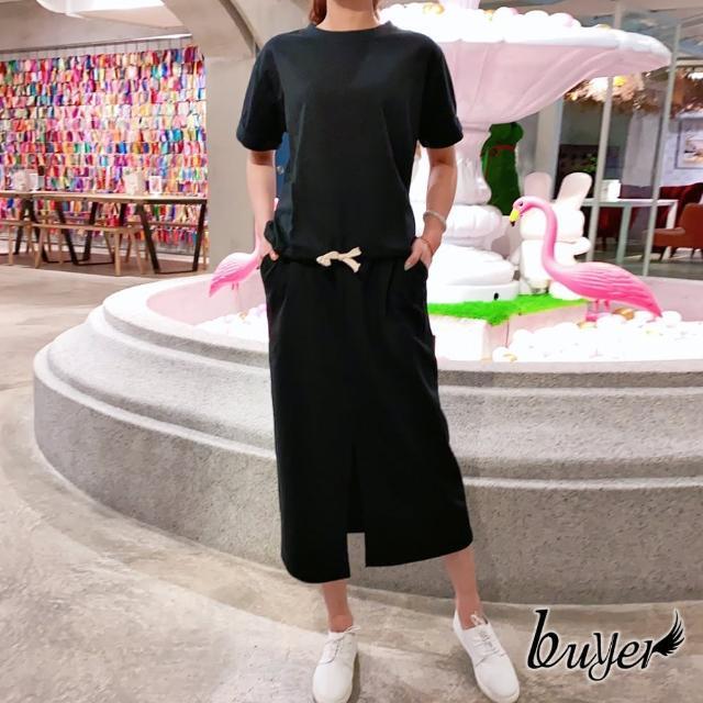 【buyer 白鵝】韓妞 舒適修身綁帶裙套裝(黑色)