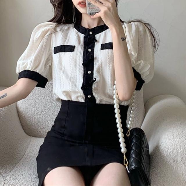 【BBHONEY】小香風修身蝴蝶結撞色氣質短袖薄款針織上衣(網美熱搜款)