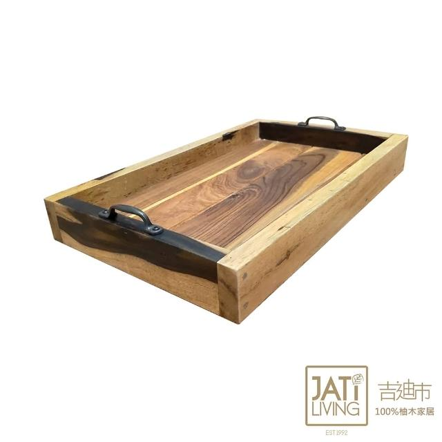 【吉迪市柚木家具】原木托盤含把手 LT-083E(實木托盤 茶盤 古早味萬用盤 早餐盤)
