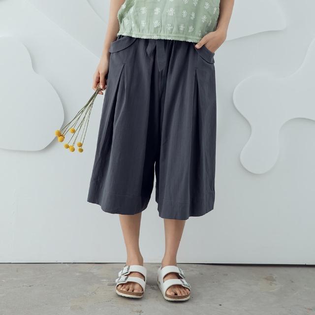 MOSS CLUB【MOSS CLUB】綁結打摺A字褲裙-女七分褲裙 綁結 黑 灰(二色/版型寬鬆)