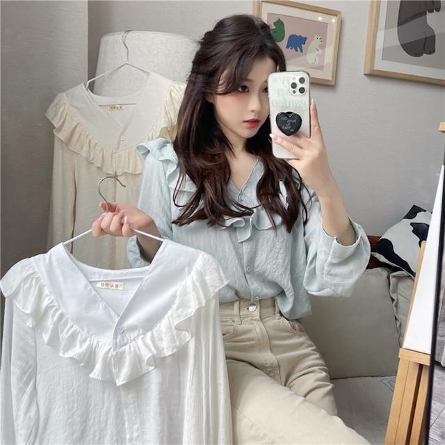 【BBHONEY】甜美荷葉邊V領長袖襯衫(網美熱搜款)