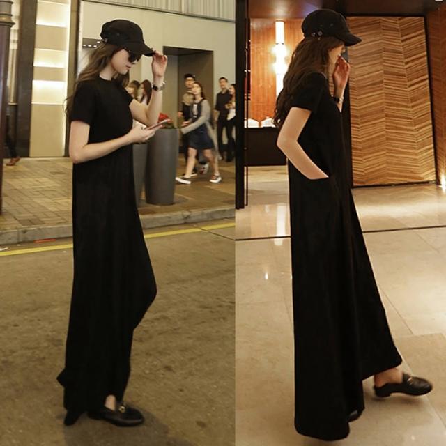 【BBHONEY】韓國東大門口袋A字超長黑色短袖連身裙(網美熱搜款)