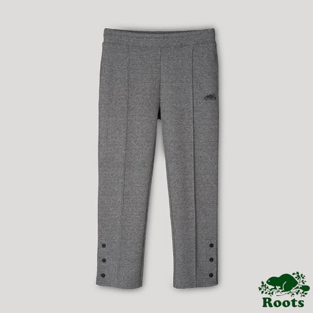 【Roots】Roots女裝-開拓者系列 釘釦設計九分棉褲(灰色)