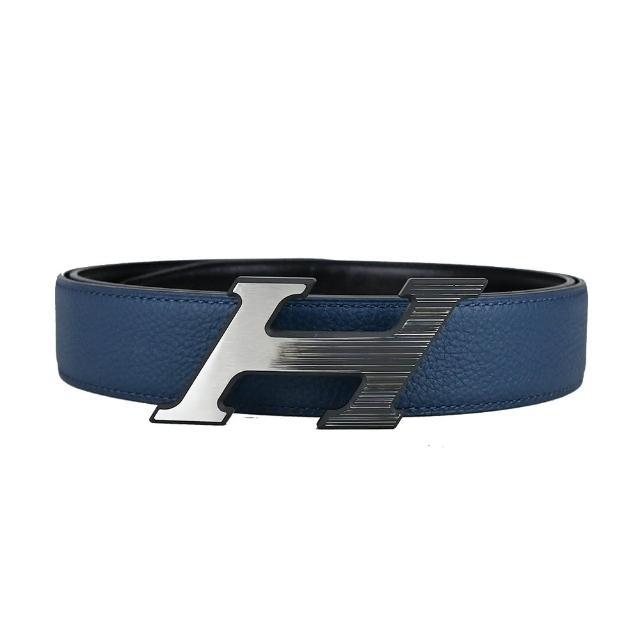 【Hermes 愛馬仕】黑框H logo銀釦牛皮雙色皮帶(黑X藍/95CM)