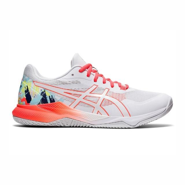 【asics 亞瑟士】Asics Gel-tactic 男女鞋 排球鞋 羽球鞋 透氣 包覆 支撐 亞瑟士 白 紅(1073A049-960)