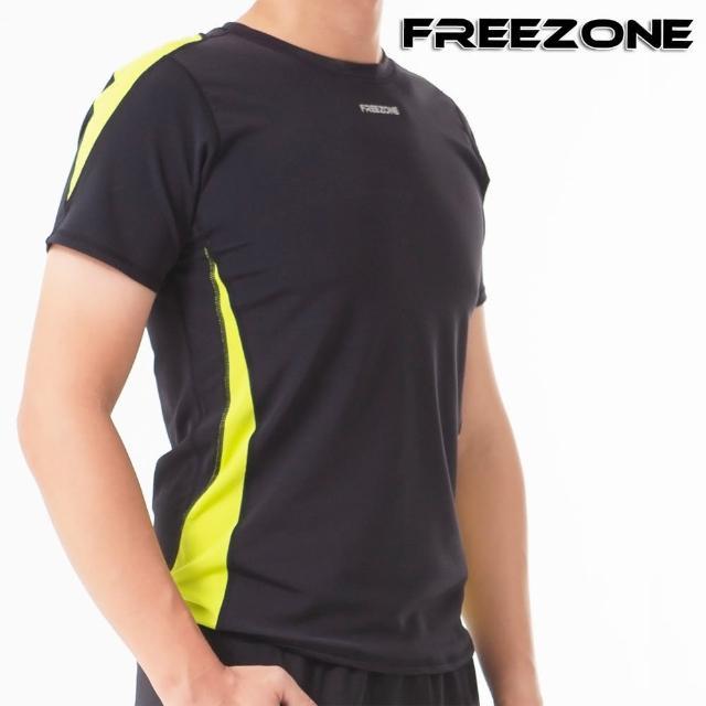 【FREEZONE】男短袖運動上衣(黑黃)(吸濕排汗/慢跑/跑步/登山/重訓/健身房/瑜伽)