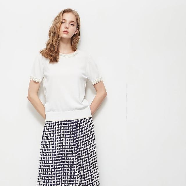 【KiKi】典雅珍珠圓領-女短袖針織衫 珍珠 藍 白 粉(三色/版型適中)