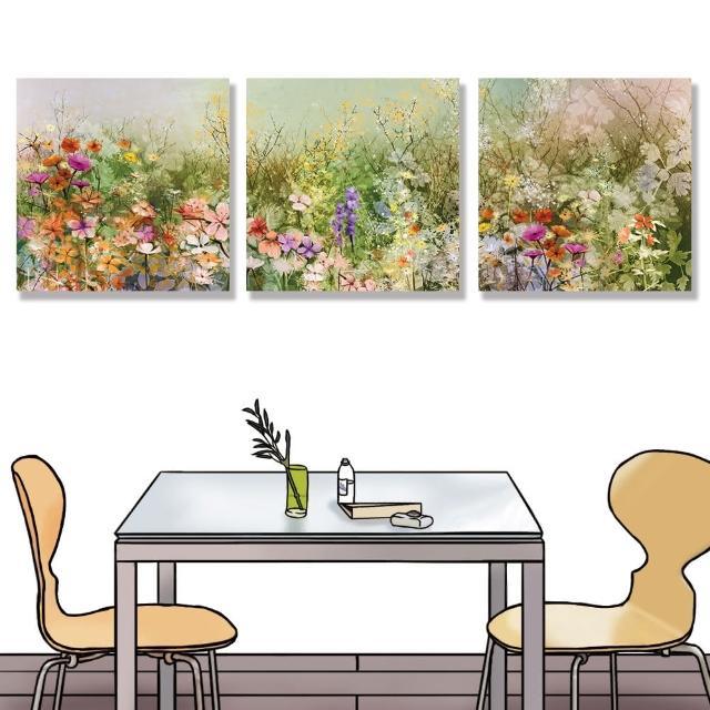 【24mama 掛畫】三聯式 油畫布 白雛菊 矢車菊 花田 手繪 蒲公英 春天 無框畫-40x40cm(抽象花卉植物)