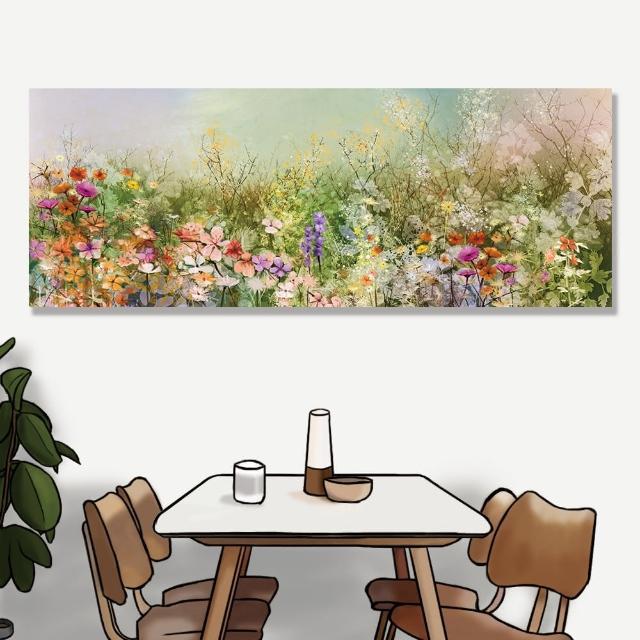 【24mama 掛畫】單聯式 油畫布 白雛菊 矢車菊 花田 手繪 蒲公英 春天 無框畫-80x30cm(抽象花卉植物)