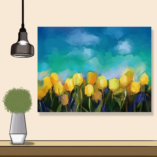 【24mama 掛畫】單聯式 油畫布 黃色 美麗花卉 充滿活力 藝術 春天 花田 無框畫 時鐘掛畫-80x60cm(鬱金香花)