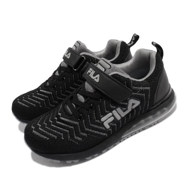 【FILA】慢跑鞋 J810V 運動休閒 反光 童鞋 女鞋 斐樂 魔鬼氈 透氣網布 球鞋穿搭 中大童 黑 灰(3J810V044)