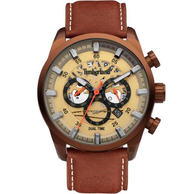 【Timberland】天柏嵐 兩地時間多功能手錶-46mm(TDWGF2100604)