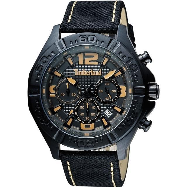 【Timberland】天柏嵐 Brenton 三眼計時手錶-黑/46mm(TBL.14655JSB/61)