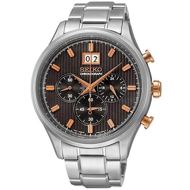 【SEIKO 精工】CS 大日期窗三眼計時手錶-42mm(7T04-0AE0P/SPC151P1)
