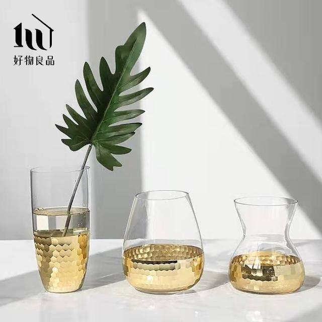 【好物良品】細腰款_簡約輕奢水晶玻璃金箔鑲色花瓶家居餐桌玄關擺飾(兩款任選)