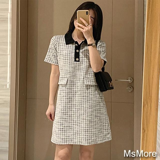 【MsMore】輕奢翻領撞色小香風針織短袖洋裝#110051現貨+預購(黑白)