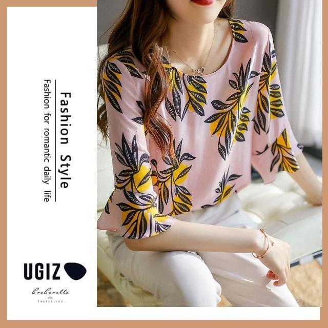 【UGIZ】修身氣質甜美溫柔植物圖案圓領造型上衣(M-XL)