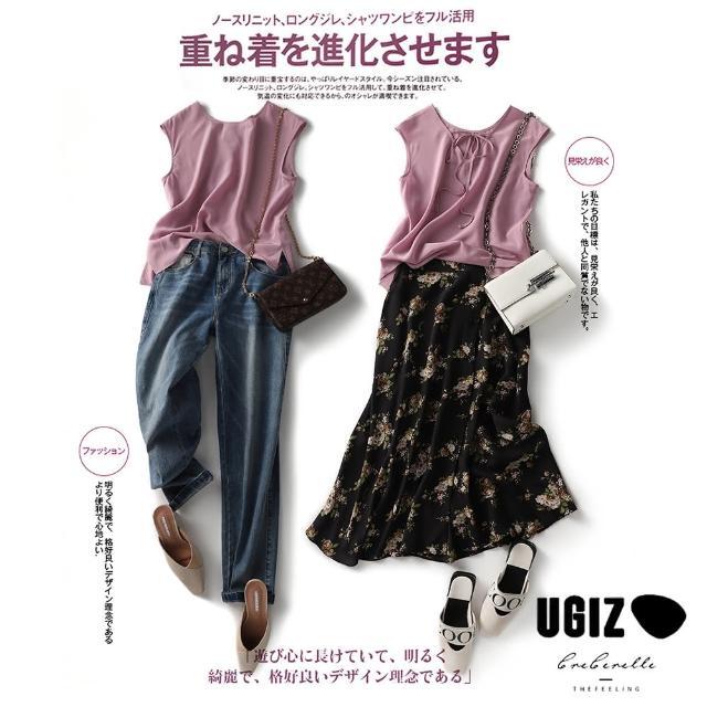 【UGIZ】修身氣質甜美溫柔無袖純色繫繩圓領造型上衣(M-XL)