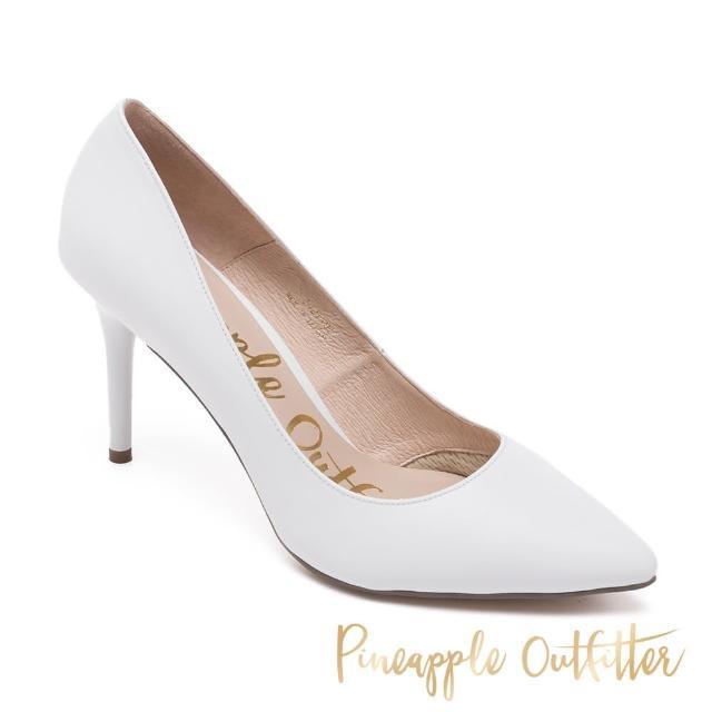 【Pineapple Outfitter】SCARLET BACK 真皮素面尖頭高跟鞋(白色)