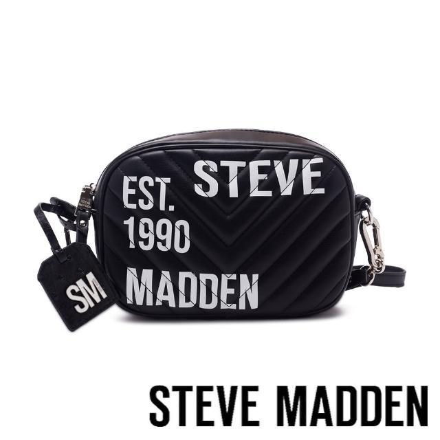 【STEVE MADDEN】BPITA 皮質大字壓紋斜肩包(黑色)