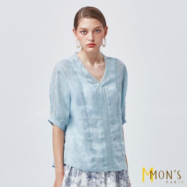 【MON'S】V領造型蕾絲花邊亞麻上衣