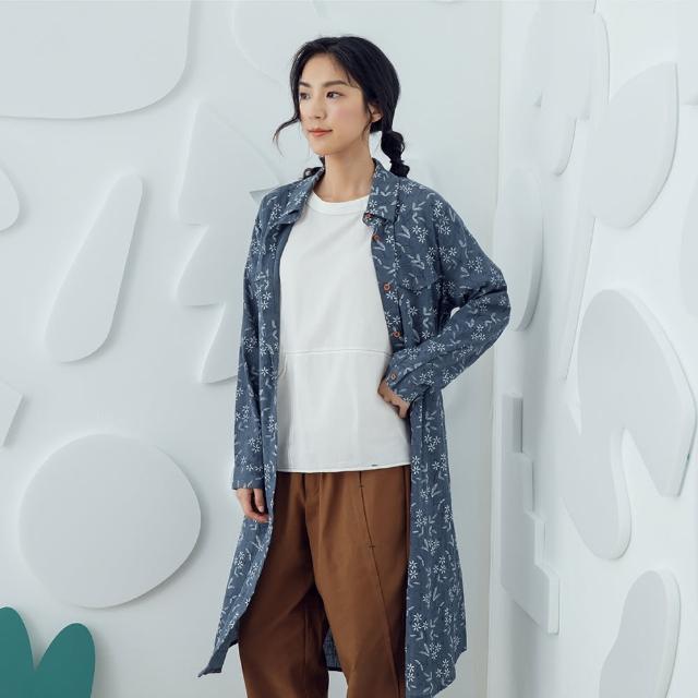 【MOSS CLUB】繡花氣質外罩式-女長袖洋裝 繡花 白 綠 灰(三色/魅力商品/版型寬鬆)