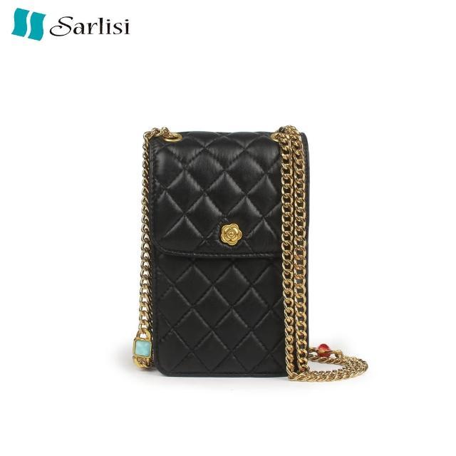 【Sarlisi】真皮手機包女夏迷你小包包單肩包斜背包菱格鏈條包羊皮女包