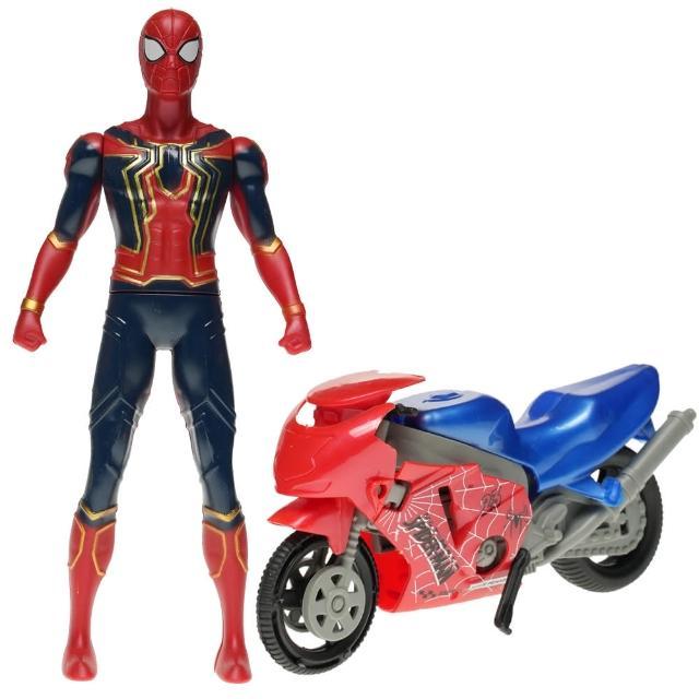 【TDL】漫威英雄復仇者聯盟蜘蛛人鋼鐵人娃娃公仔模型變形摩托車玩具車 175239