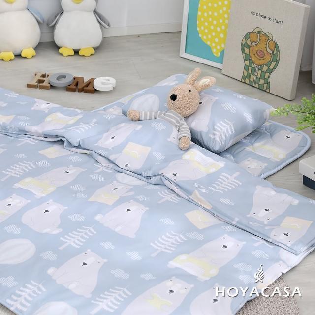 【HOYACASA】吸濕排汗天絲兩用被兒童睡墊三件組(熊寶)