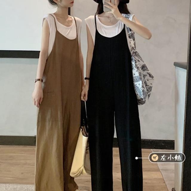 【BBHONEY】閨蜜二件套削肩棉t背帶褲兩件套(網美熱搜款)