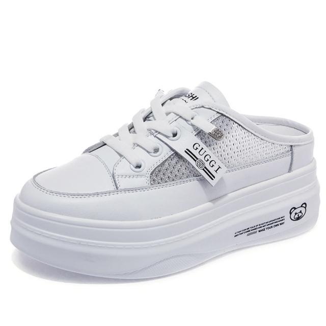【Taroko】潮流標籤反光條真牛皮網面透氣內增高厚底穆勒鞋(2款可選)