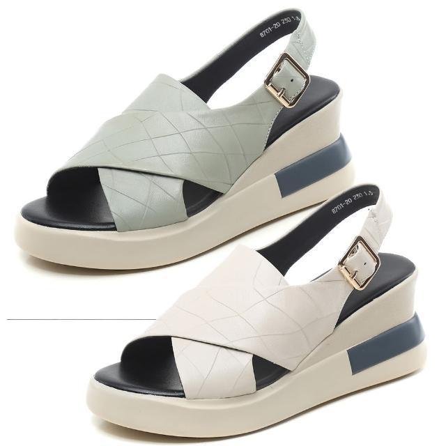 【Taroko】純色時尚柔軟羊皮增高一字涼鞋(2色可選)
