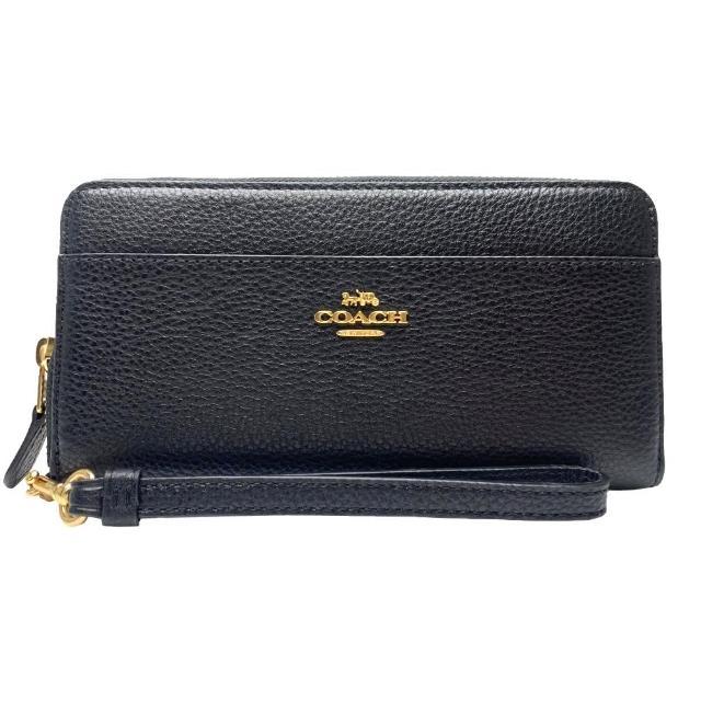 【COACH】金標馬車LOGO前口袋 ㄇ型拉鍊可拆手拿皮革長夾-氣質黑(coach 黑色 6643 imblk)