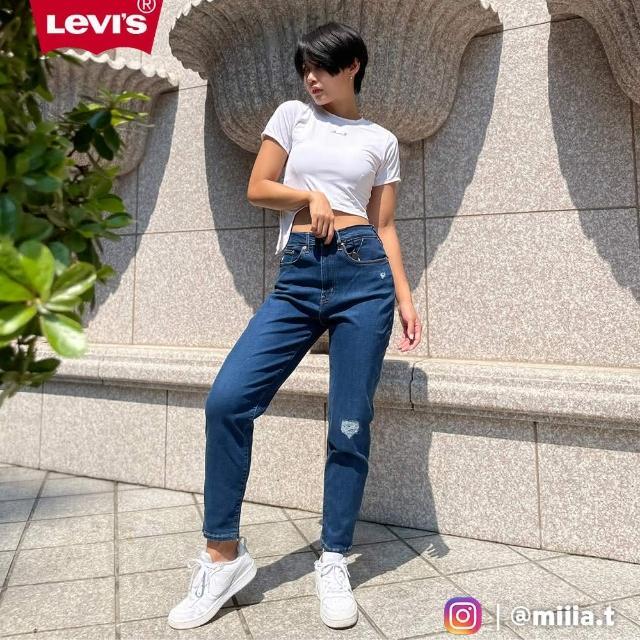 【LEVIS】女款 高腰修身窄管牛仔長褲 / 精工磨損補丁細節 / 天絲棉 / 彈性布料-人氣新品