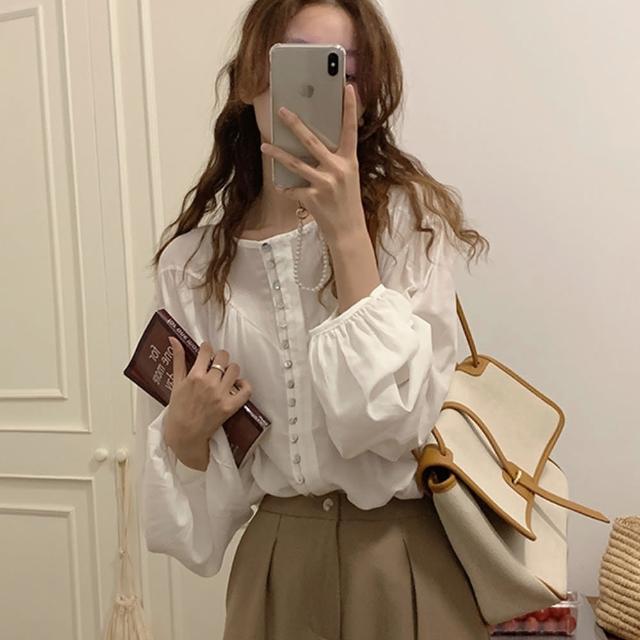 【Pure 衣櫃】韓系氣質女神珍珠釦長袖微透襯衫(甜美/舒適/百搭/KDT-11658)