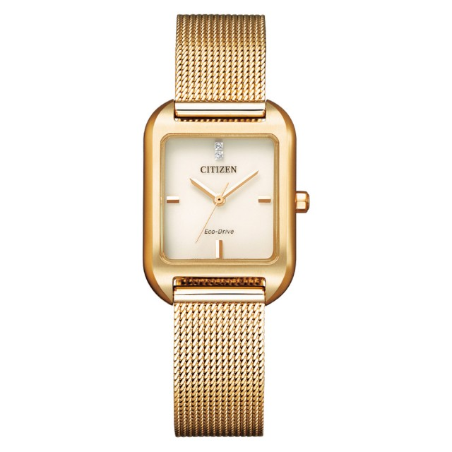 【CITIZEN 星辰】光動能簡約優雅方型腕錶-玫瑰金(EM0493-85P)
