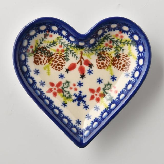 【波蘭陶】初春遊樂園系列 愛心醬料碟 波蘭手工製