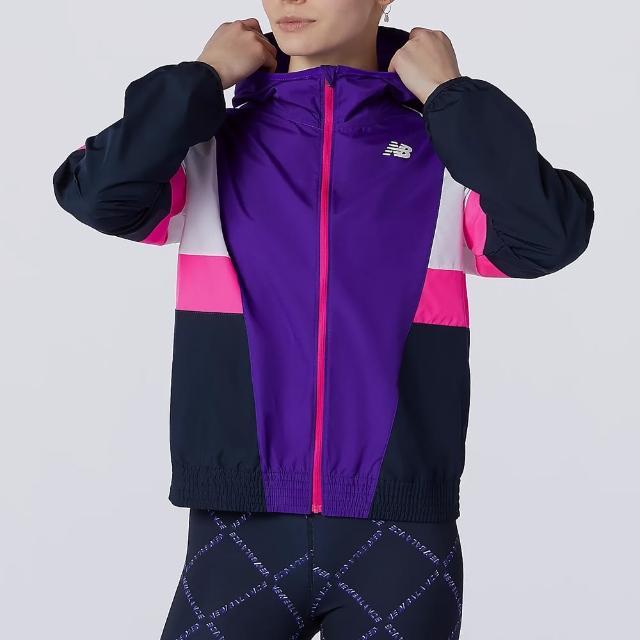 【NEW BALANCE】NB 外套 女款 運動連帽外套 慢跑 風衣外套 黑紫 WJ13231DV