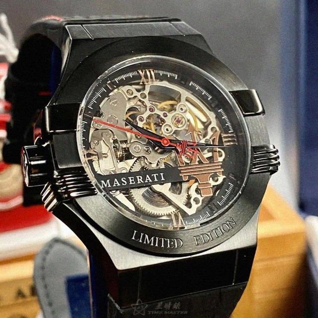 【MASERATI 瑪莎拉蒂】瑪莎拉蒂男女通用錶型號R8821108021(銀黑色錶面黑錶殼深黑色真皮皮革錶帶款)