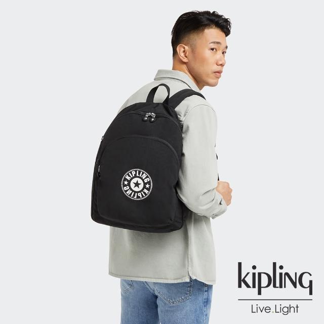 【KIPLING】寧靜深邃黑大容量簡約手提後背包-CURTIS L