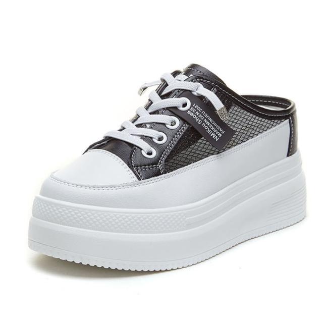 【Taroko】真牛皮網面透氣標籤內增高厚底穆勒鞋(2色可選)