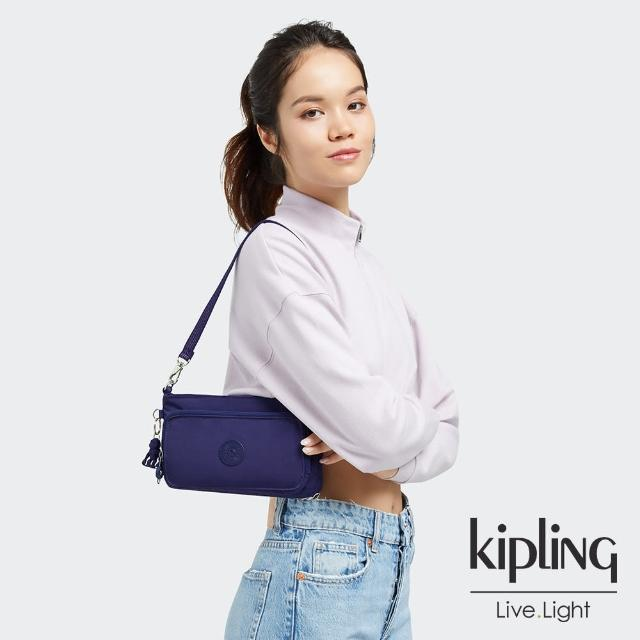 【KIPLING】深邃銀河藍前袋拉鍊長形肩背包-MYRTE