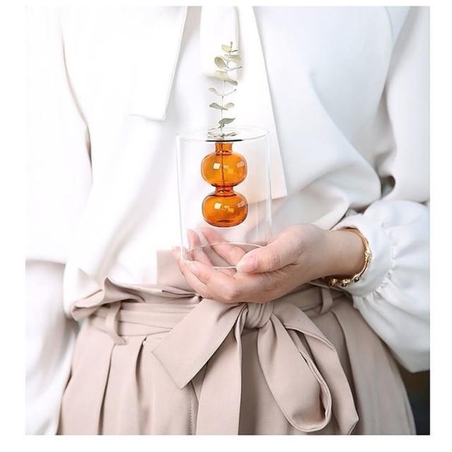 【JEN】北歐簡約彩色玻璃創意雙層造型花瓶花器桌面擺飾居家裝飾高10cm
