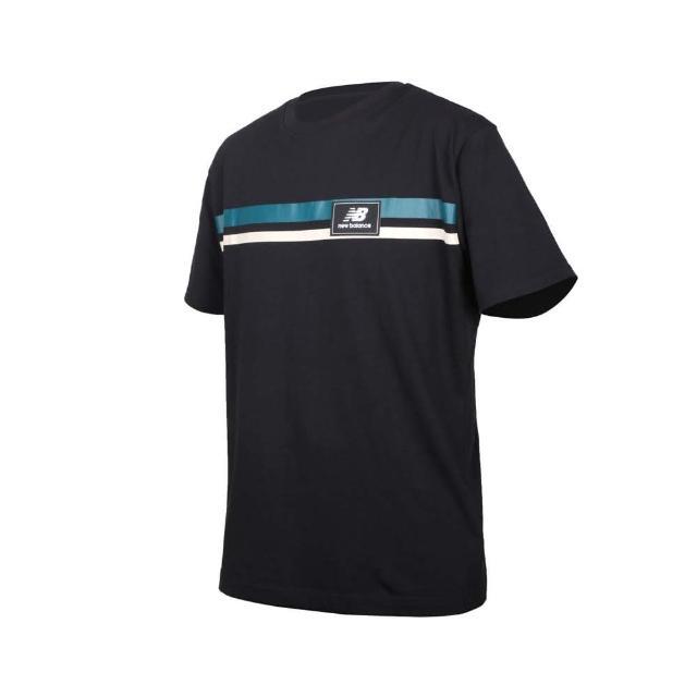 【NEW BALANCE】男短袖T恤-純棉 休閒 慢跑 上衣 NB 黑綠灰(MT13501BK)